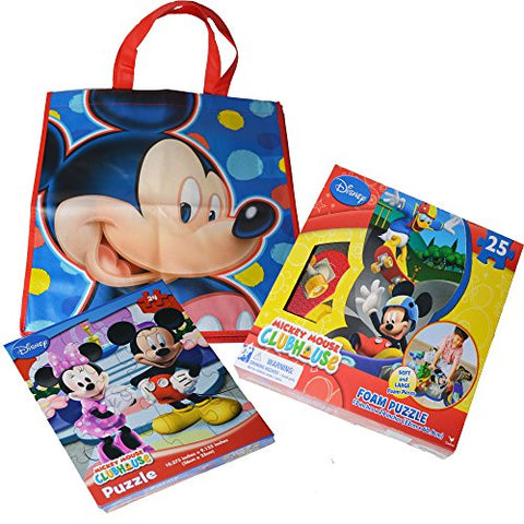Disney Mickey Mouse 25 piece Floor Foam Puzzle along with 24 piece Jigsaw Puzzle and Bag - GBundle