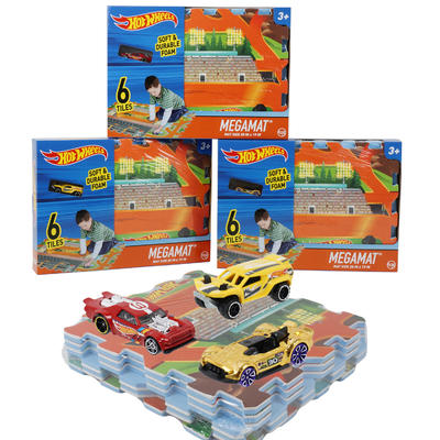 Hot Wheels 6 Tile Megamat Floor Jigsaw Puzzle with 1 Assorted Style Toy Car - GBundle