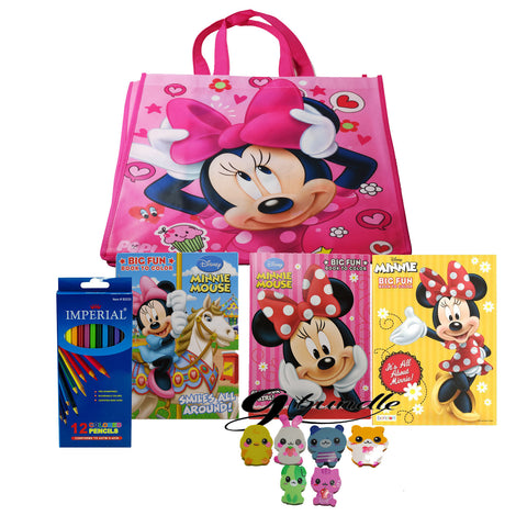 Disney Minnie Mouse Coloring Book With Color Pencil and a G bundle Assorted Friends Eraser - GBundle
