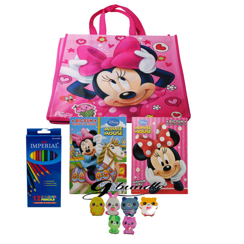 Disney Minnie Mouse Coloring Book With Color Pencil and a (1) G bundle Assorted Friends Eraser - GBundle