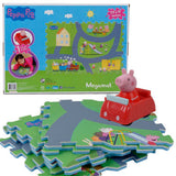 Nickelodeon Peppa Pig 6 Tile Megamat Floor Jigsaw Puzzle with 1 Assorted Style Character Toy Car - GBundle