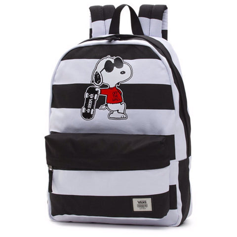 Vans Peanuts Realm Snoopy Joe Cool Black White Backpack - GBundle