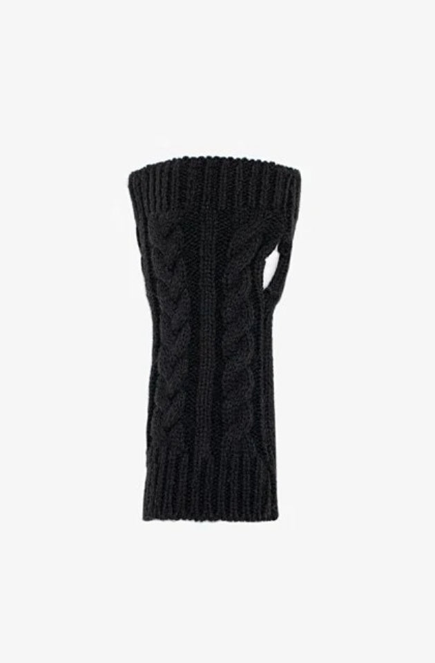 ANTLER KNITTED CABLE FINGERLESS GLOVE - BLACK - AGL-FCB