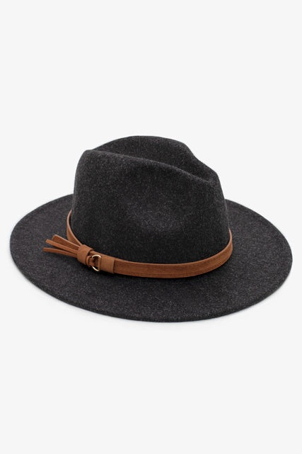 ANTLER FEDORA HAT- CHARCOAL - AFD-CHC