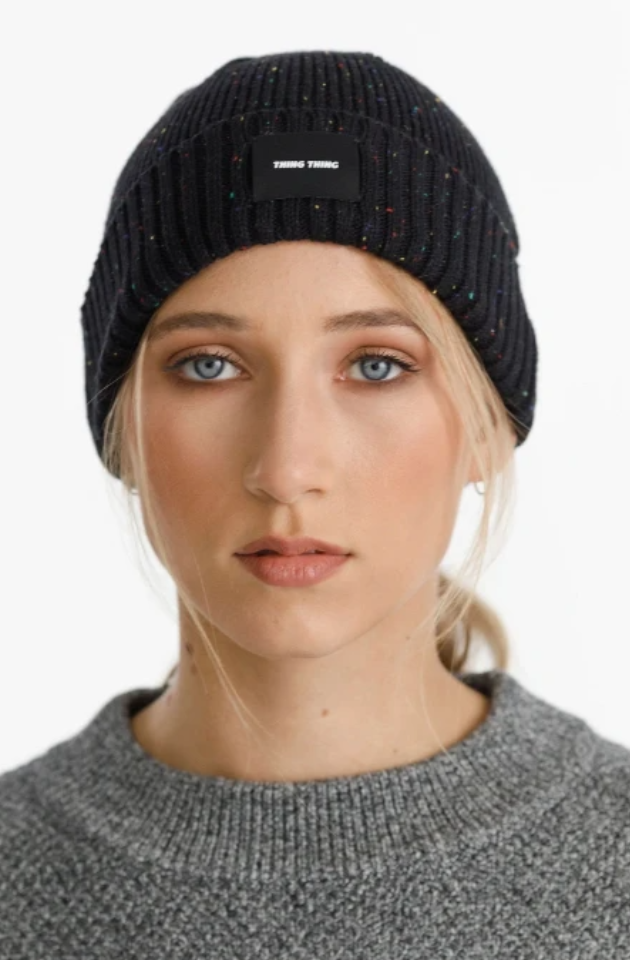 THING THING SPECKLE BEANIE - BLACK FLECK - TTW9004-01