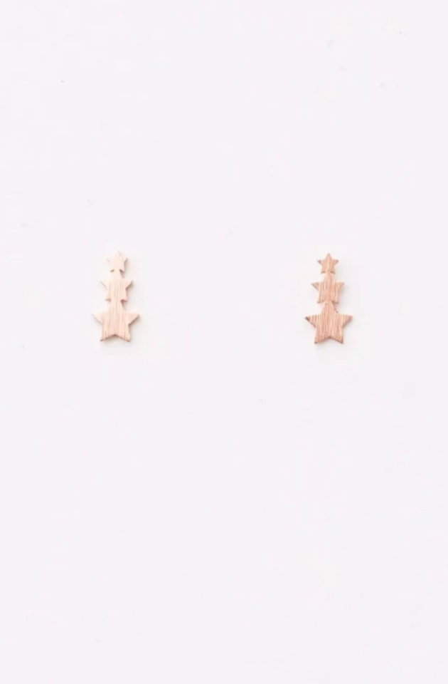 STELLA & GEMMA EARRING 3 TINY STARS - ROSE GOLD - SGE7778