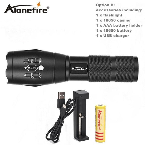 Tactical LED Torch AAA or 18650 Rechargeable Battery 800 Lumen