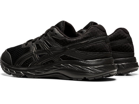ASICS JUNIOR CONTEND 6 GS TRIPLE BLACK RUNNING SHOES
