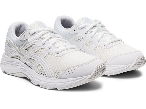 ASICS JUNIOR CONTEND 6 GS TRIPLE WHITE RUNNING SHOES