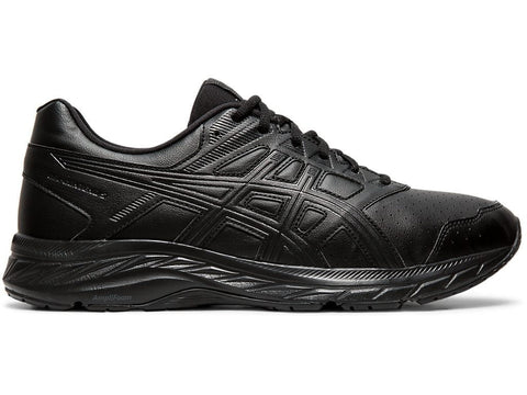 ASICS MEN'S GEL-CONTEND™ 5 TRIPLE BLACK LEATHER RUNNING SHOES
