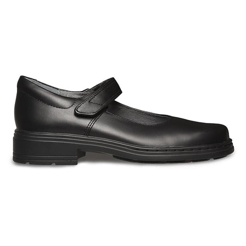 CLARKS JUNIOR INDULGE MARY JANE TRIPLE BLACK LEATHER SHOES (WIDTH E)