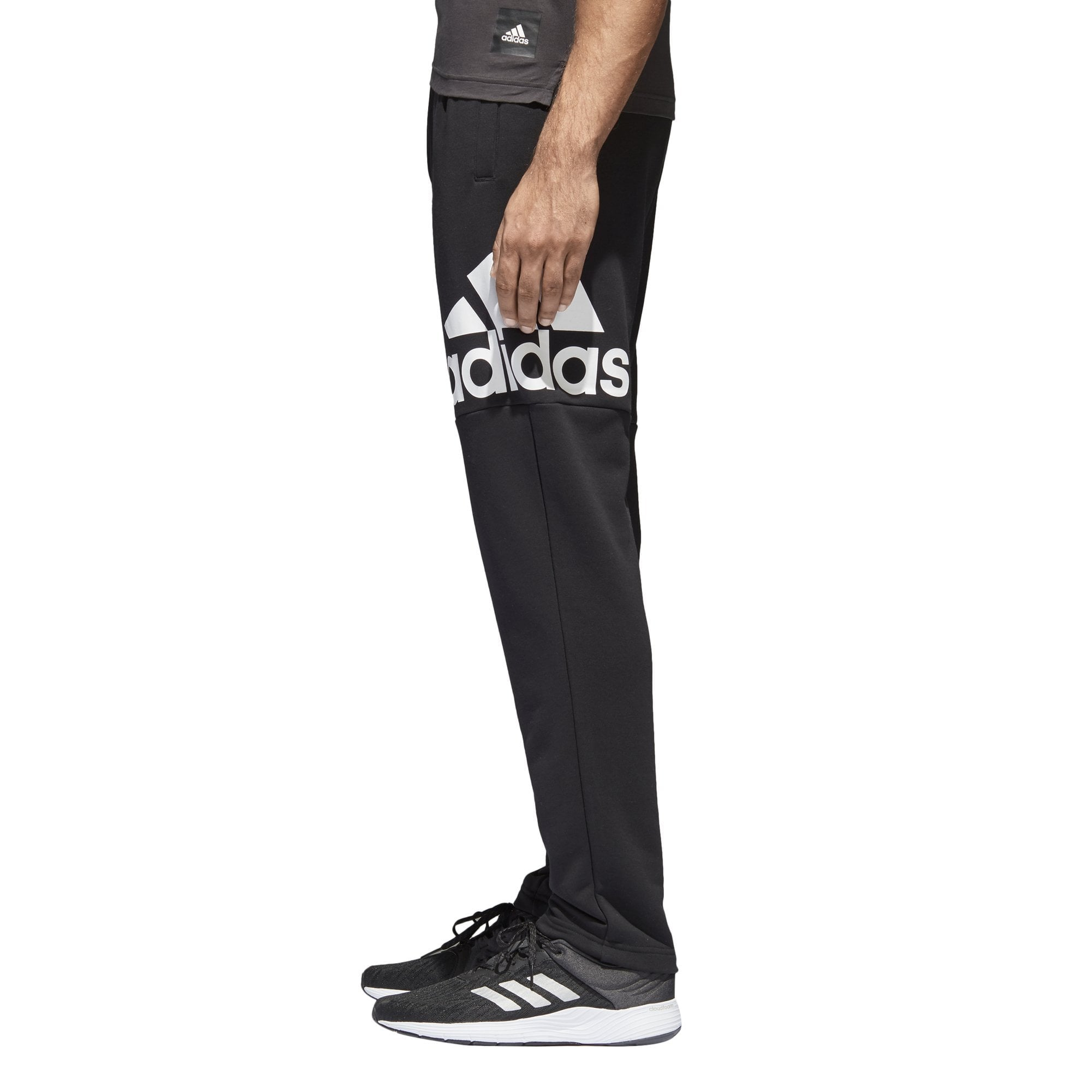 ADIDAS MEN'S ESSENTIAL LOGO BLACK/WHITE TRACK PANTS - INSPORT