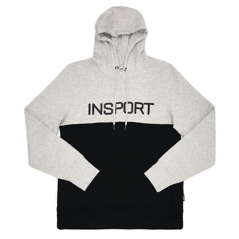 INSPORT MEN'S BLOCKED GREY/BLACK HOODIE