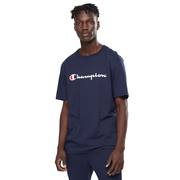 CHAMPION MEN'S SCRIPT SHORT SLEEVE NAVY TEE