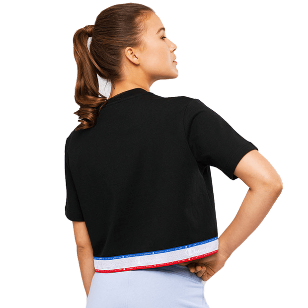 CHAMPION WOMEN'S ID COLLECTION BLACK CROPPED TAPE TEE