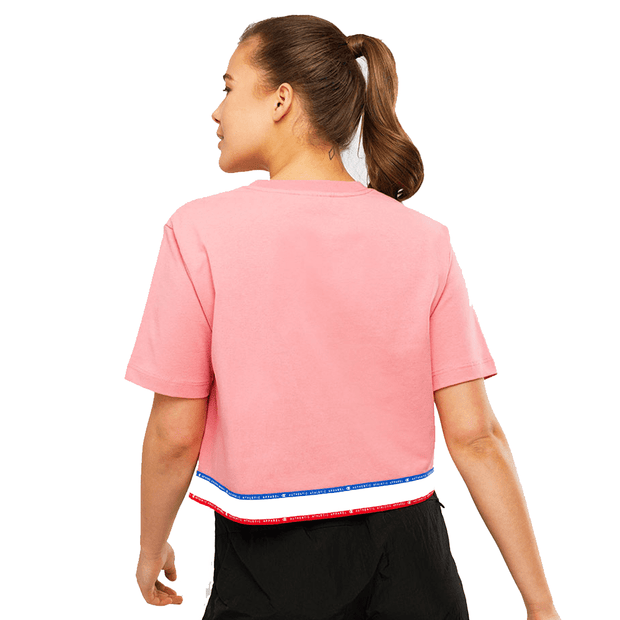 CHAMPION WOMEN'S ID COLLECTION PINK CROPPED TAPE TEE