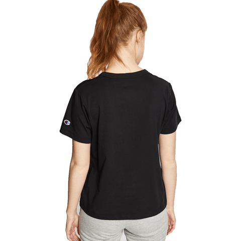 CHAMPION WOMEN'S SCRIPT CROP BLACK TEE