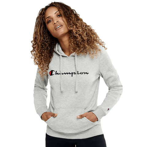 CHAMPION WOMEN'S SCRIPT OXFORD HEATHER GREY HOODIE