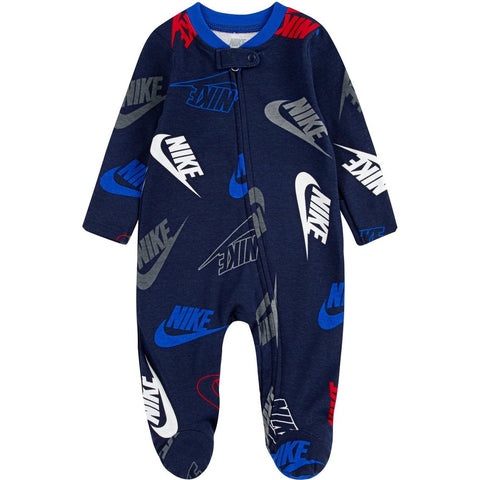 NIKE INFANT'S PRINTED FOOTED BLUE COVERALL ONESIE