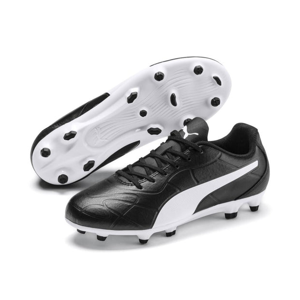 PUMA JUNIOR MONARCH FG BLACK WHITE FOOTBALL BOOTS
