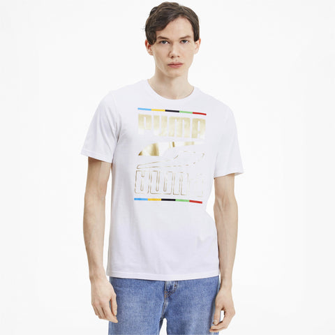 PUMA MEN'S THE UNITY COLLECTION REBEL 5 CONTINENTS WHITE TEE