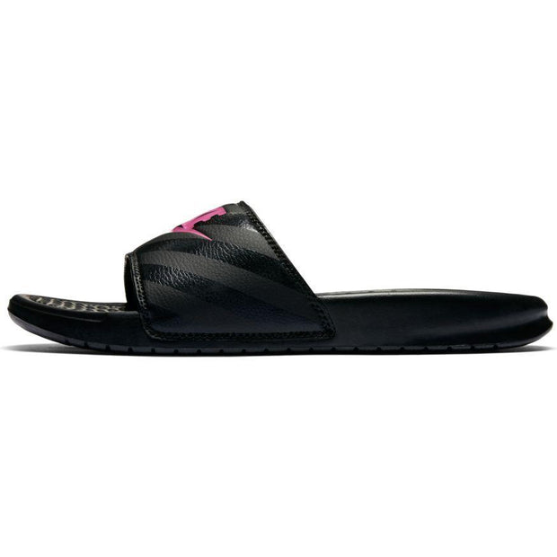 "NIKE WOMEN'S BENASSI ""JUST DO IT."" BLACK PINK SLIDES"