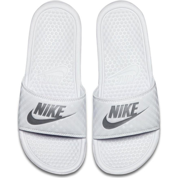 "NIKE WOMEN'S BENASSI ""JUST DO IT."" WHITE SLIDES"