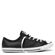 CONVERSE WOMEN'S CHUCK TAYLOR ALL STAR DAINTY LEATHER LOW TOP BLACK SHOES