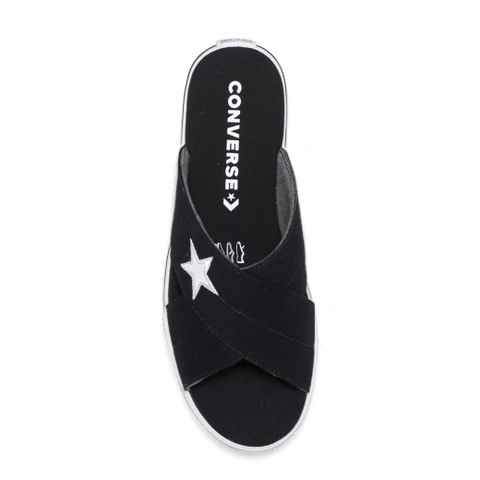 CONVERSE WOMEN'S ONE STAR BLACK SLIDES