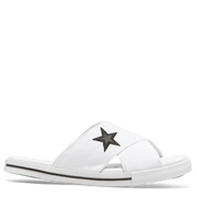 CONVERSE WOMEN'S ONE STAR WHITE SLIDES