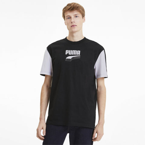 PUMA MEN'S REBEL BLOCK BLACK TEE