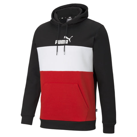 PUMA MEN'S ESSENTIALS+ COLOURBLOCK BLACK/RED/WHITE HOODIE