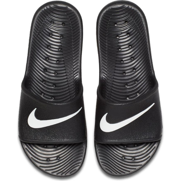 NIKE MEN'S KAWA BLACK WHITE SLIDES