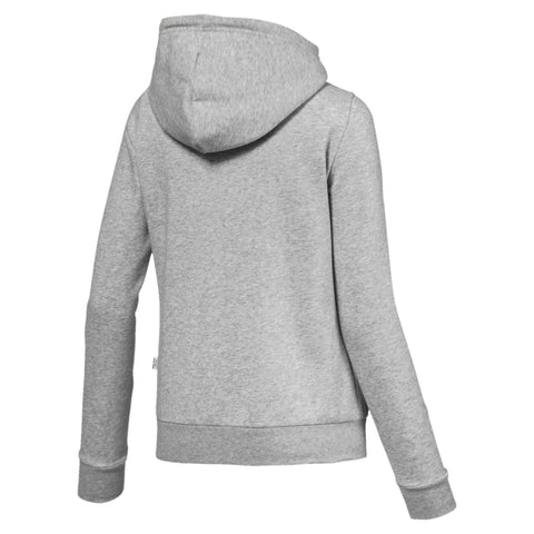 PUMA WOMEN'S ESSENTIALS FLEECE HOODED FULL ZIP GREY JACKET
