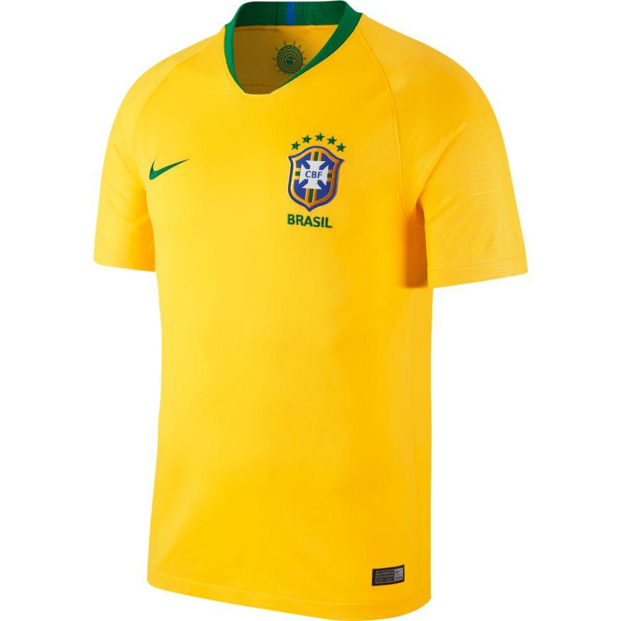 NIKE MEN'S BREATHE BRASIL CBF STADIUM HOME WORLD CUP 2018 FOOTBALL JERSEY