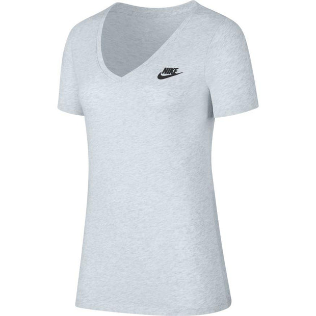 NIKE WOMEN'S SPORTSWEAR WHITE HEATHER V-NECK T-SHIRT