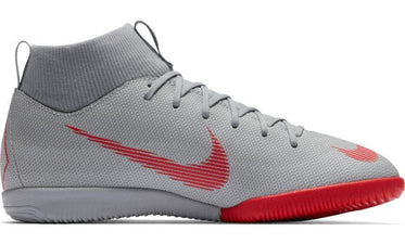 NIKE JUNIOR MERCURIALX SUPERFLY VI GREY/RED ACADEMY INDOOR FOOTBALL BOOTS