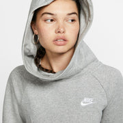 NIKE WOMEN'S ESSENTIAL FUNNEL-NECK FLEECE PULLOVER GREY HOODIE
