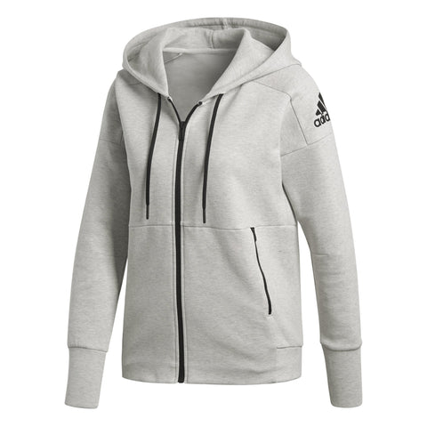 ADIDAS WOMEN'S ESSENTIAL LINEAR FULL ZIP GREY JACKET