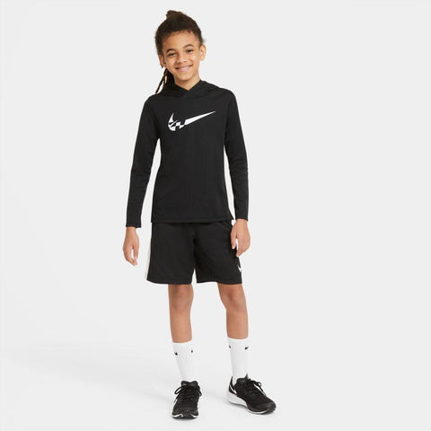 NIKE JUNIOR DRI-FIT GRAPHIC BLACK TRAINING SHORTS