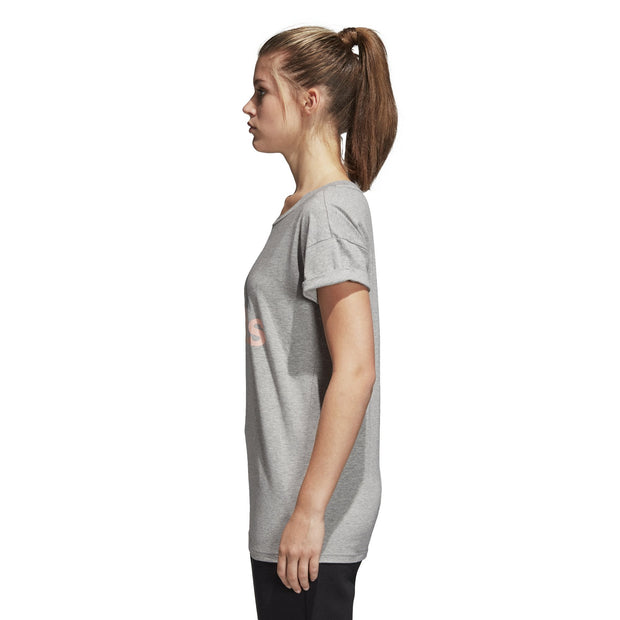 ADIDAS WOMEN'S TRAINING ESSENTIALS LINEAR GREY LOOSE TEE - INSPORT