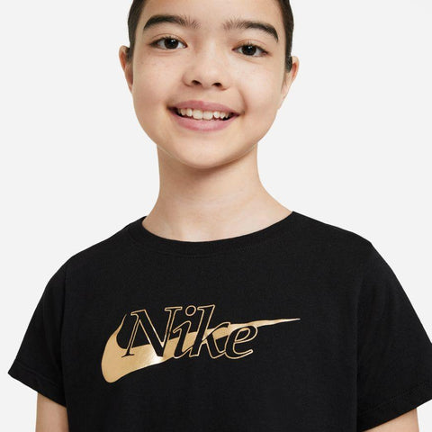 NIKE JUNIOR SPORTSWEAR BLACK/GOLD T-SHIRT