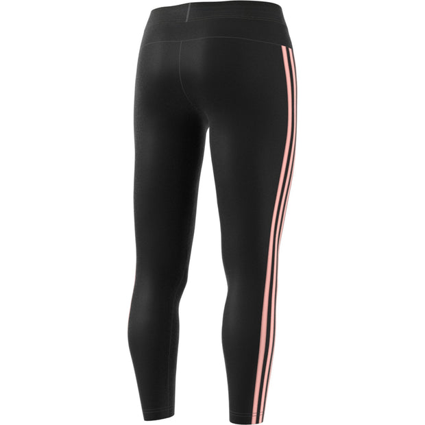 ADIDAS WOMEN'S TRAINING ESSENTIALS 3 STRIPES BLACK/CORAL TIGHTS - INSPORT