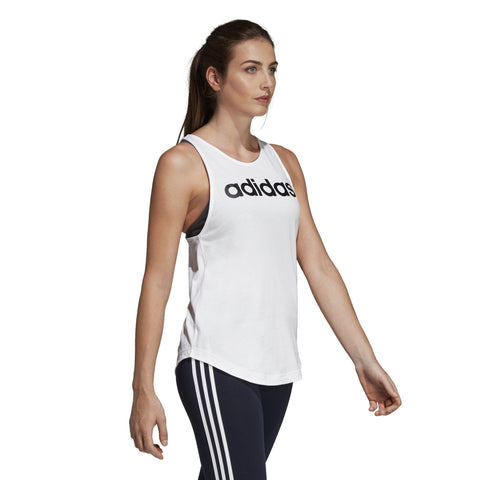 ADIDAS WOMEN'S ATHLETICS ESSENTIALS LINEAR TANK WHITE TOP