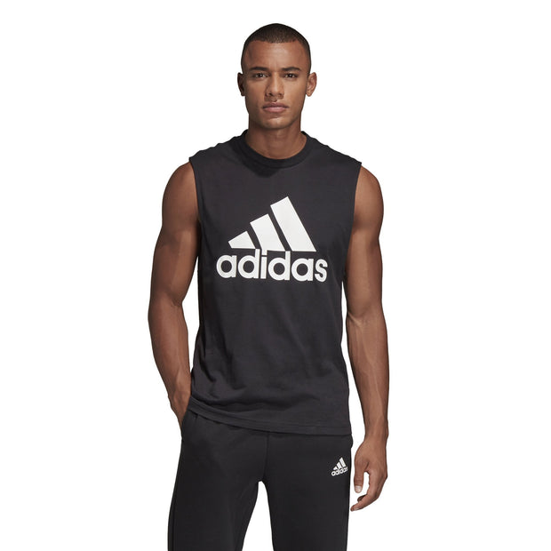 ADIDAS MEN'S ATHLETICS MUST HAVES BADGE OF SPORT BLACK TANK TOP