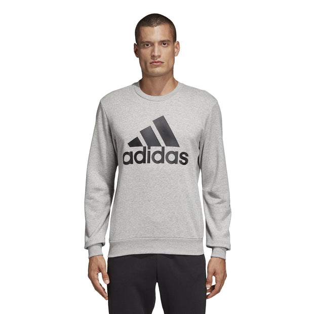 ADIDAS MEN'S MUST HAVES BADGE OF SPORT GREY FRENCH TERRY CREW - INSPORT