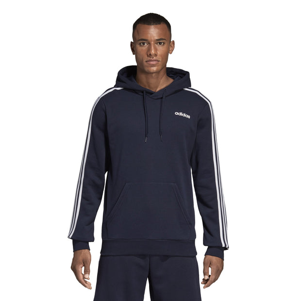 ADIDAS MEN'S TRAINING ESSENTIALS 3 STRIPES PULLOVER FRENCH TERRY NAVY HOODIE - INSPORT