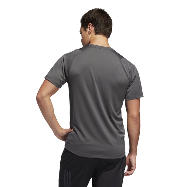 ADIDAS MEN'S TRAINING FREELIFT SPORT ULTIMATE SOLID GREY TEE - INSPORT