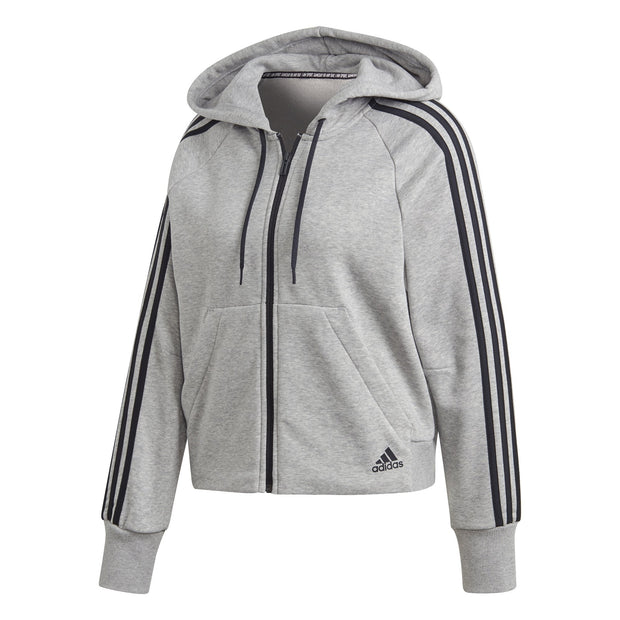 ADIDAS WOMEN'S 3-STRIPES GREY FRENCH TERRY HOODIE