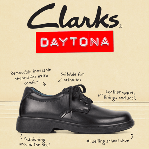 CLARKS JUNIOR DAYTONA TRIPLE BLACK LEATHER SHOES (WIDTH E)